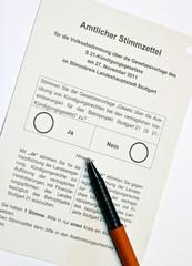 Stimmzettel zur Abstimmung über Stuttgart 21