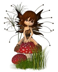 Foto op Aluminium Feeën en elfen Cute Toon Autumn Fairy and Toadstool
