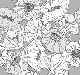 Seamless floral pattern. Background with poppy flowers.