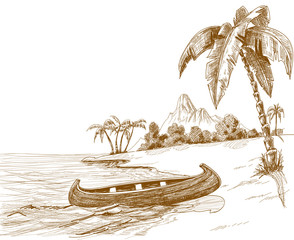 Beach sketch with boat on shore and volcano in background