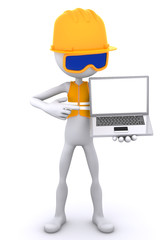 Construction worker showing laptop. Isolated