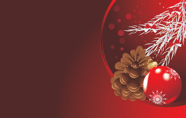 Red Christmas ball with tinsel and pinecone. Festive banner