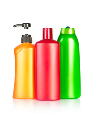 color shampoo bottles. Isolated on white background