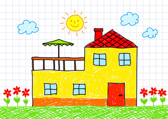 Drawing of yellow house