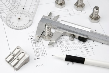technical drawing with tools