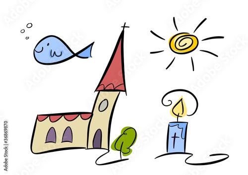Quot Bunte Cartoon Zeichnung Christliche Symbole Quot Stockfotos