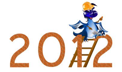 Dark blue Dragon the New Year's builder