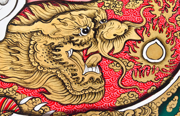 Art Chinese style painting on wall in temple.