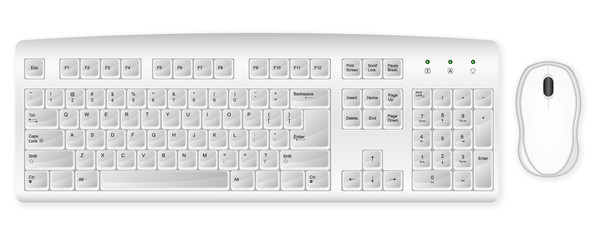white keyboard and mouse