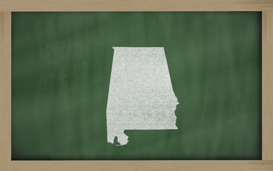 outline map of alabama on blackboard