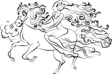 Girl sitting on a horse, vector illustration