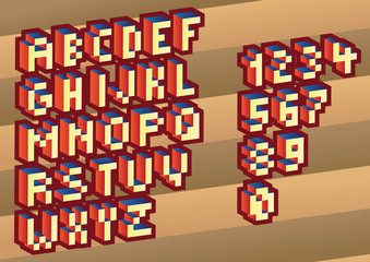 3D Pixel alphabet and numbers - illustration