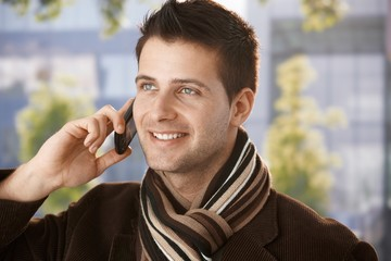 Happy guy on mobile call