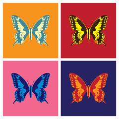 Butterflies in pop art style - illustration