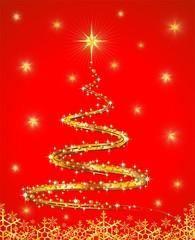 Natale Albero Oro Astratto-Golden Abstract Christmas Tree