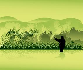 fisherman silhouette in green landscape
