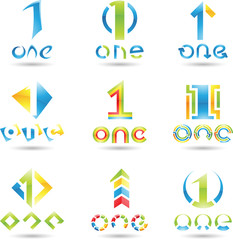 Vector illustration of Icons for number one