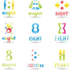 Vector illustration of Icons for number eight