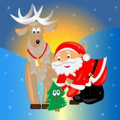 santa with christmas tree. christmas card.vector