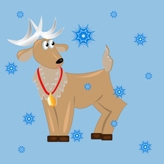 deer with snowflakes.vector card christmas