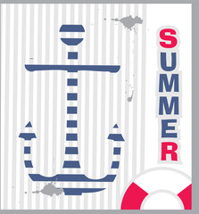 Summer background with an anchor