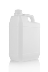white plastic canister isolated over white