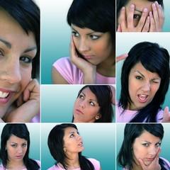 Woman displaying range of emotions