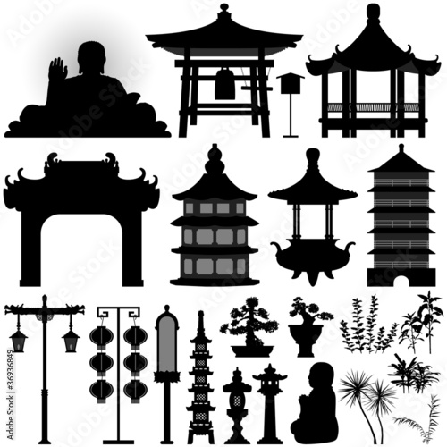 "Architecture Design Elements chinese asian temple building architecture design elements"" stock"