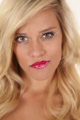 woman red lip stick sparkles