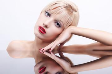 beautiful woman and mirror