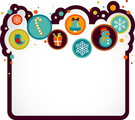 Christmas background with cute icons