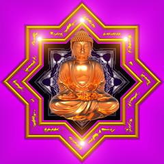 Gold Buddha with Mandala