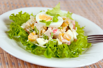 A delicious salad with egg and mayonnaise