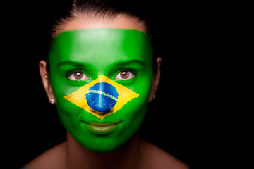 Portrait of a woman with the flag of the Brazil