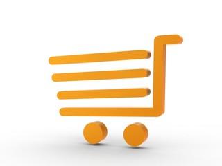 3d Icon Einkaufswagen orange