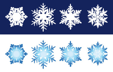 Snowflakes. Six individual snowflakes with unique hexagonal structures. Blue snowflakes on white background and white flakes on blue background. Illustration. Vector.
