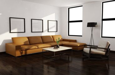Modern autumn interior living room, wood floor, leather sofa