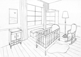 Graphical sketch of an interior apartment,