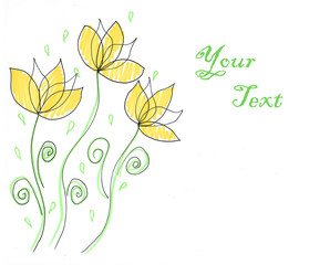 Sketch, flowers, with place for your text