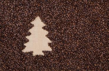 Fir tree made of coffee beans