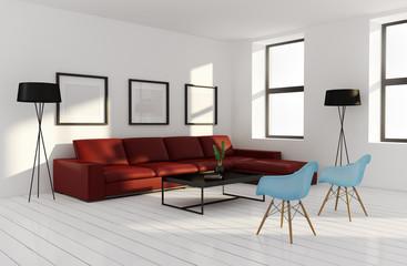 Modern interior living room, wood floor scandinavian style