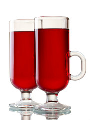 mulled wine in the glasses isolated on white