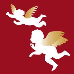 zwei engel mit goldenen flügeln