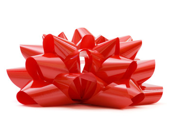 Big red bow isolated on white