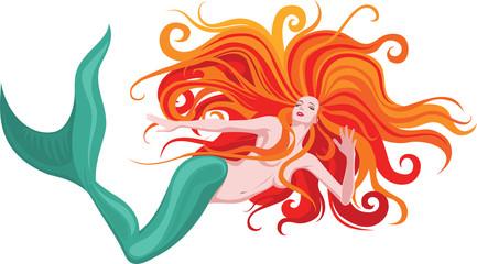 Fototapeten Pony red-haired mermaid