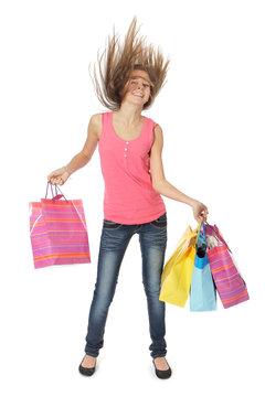 Shopping les cheveux dans le vent
