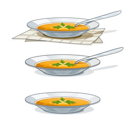 soup in white plate with spoon vector illustration isolated on