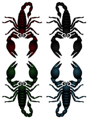 A cute vector collection of scorpions isolated on white