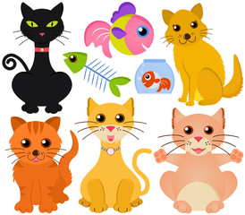 Cute vector collection of cat and fish isolated on white