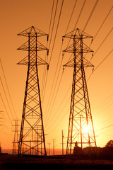 Electric Powerlines at Sunset